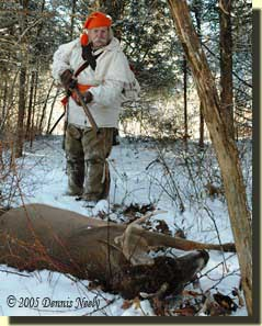 Approaching a downed 8-point buck