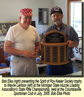 Wayne Lamson receiving the Spirit of Roy Keeler Society trophy.