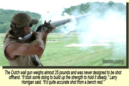 Horrigan shooting the wall gun.